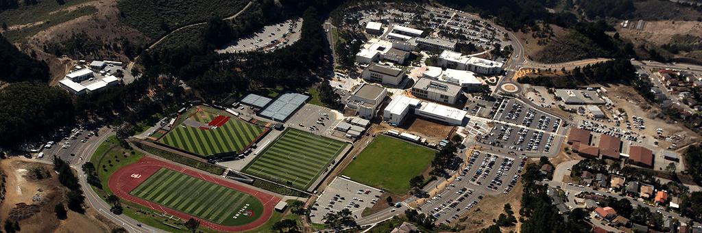 Bird eye view college campus