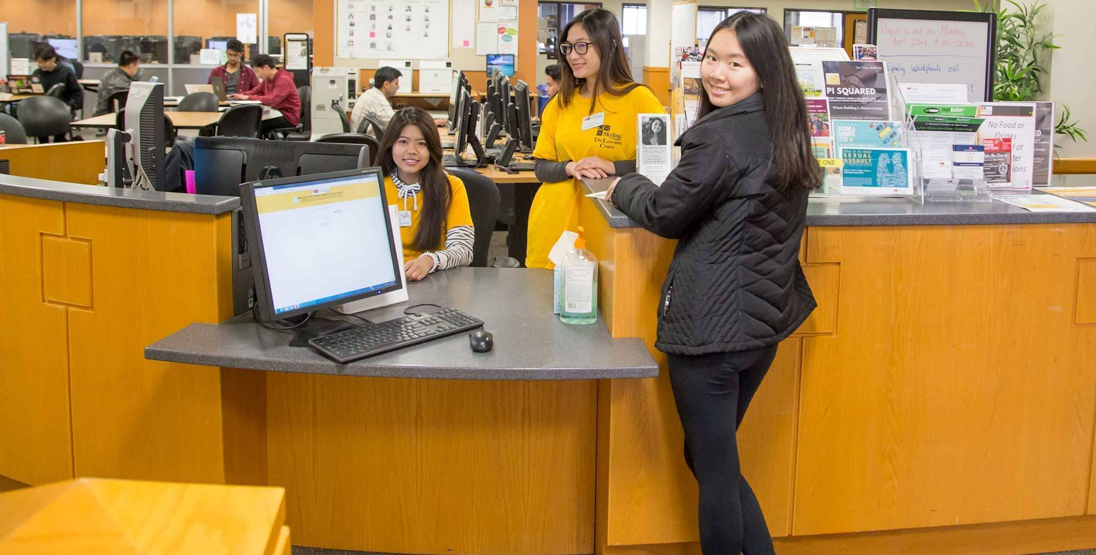 checking students into learning center